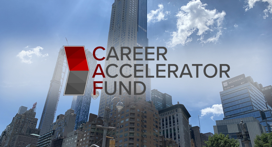 Career Accelerator Fund icon over NYC skyline
