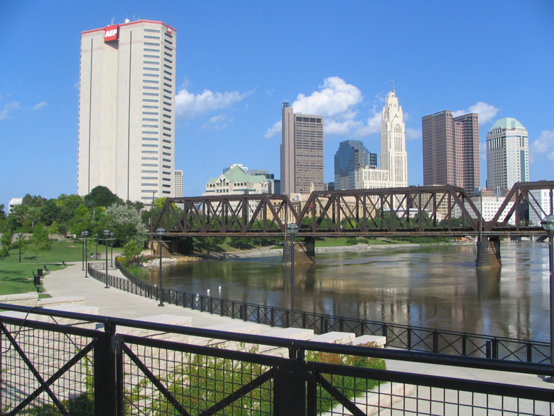 A view of downtown Columbus from the river.