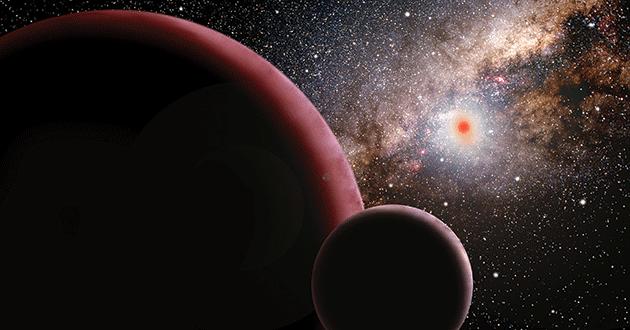 Super-earth orbiting a red dwarf star 9,000 light years away.