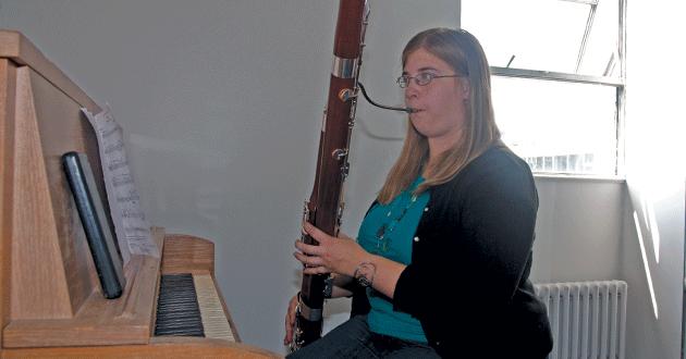 Emily Patronik practices bassoon.