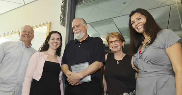 The Joy of Astrophysics: (L-R) Terry Walker, professor of physics and astronomy; Lisa Colarosa; Steve Price; Jill Levy; and Yavonne McGarry.