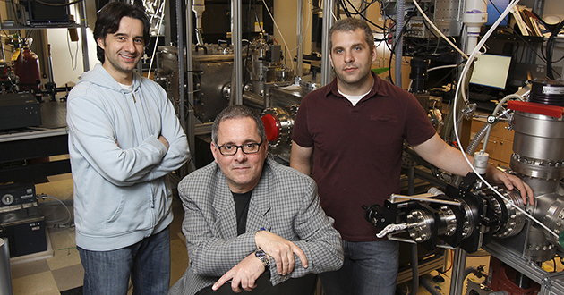 Physics Professor Louis DiMauro, middle, and postdoctoral researchers (left to right) Cosmin Blaga and Anthony Di Chiara.