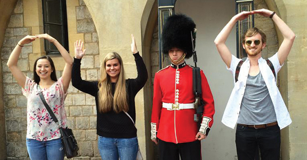 Ohio State students (l-r) Miranda Cochran, Megan Meyers and Andrew Luft find a friend in London. (Photo by Ryan Shaw)