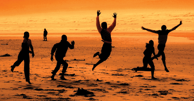Moopi Mothibeli and friends at Muizenberg Beach.