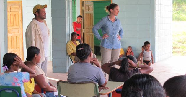 Professor McSweeney at a village meeting, Honduras.