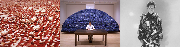 Some of Ann Hamilton's work represented in the VRL Archive: (from L to R) between taxonomy and communion (1990), indigo blue (1991/2007), and reciprocal fascinations (1985).