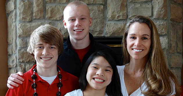 Dr. Mary Chellis with her children  (L to R) Andrew, Jacob and Hanna.