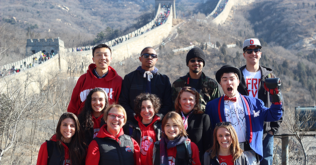 Ohio State travelers stop at the Great Wall of China.
