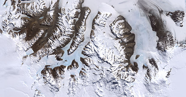 Satelite image of the McMurdo Dry Valleys in Antarctica. Photo Credit: Robert Simmon