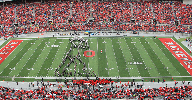 The Ohio State Marching Band performs a tribute to Michael Jackson.