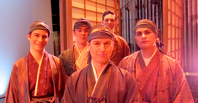 Ohio State student voice majors Andrew Hall (far left) and Joshua Cook (second from left) join members of Opera Columbus in the chorus for Madama Butterfly.