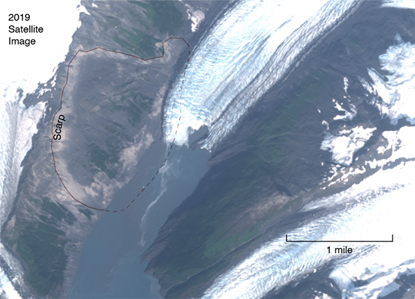 The site of a potential landslide in Barry Arm, Alaska.