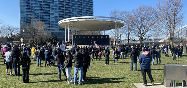 A rally against anti-Asian racism at Bicentennial Park on March 20. Photo courtesy Ce Shang