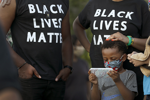 People at a Black Lives Matter protest in Chicago