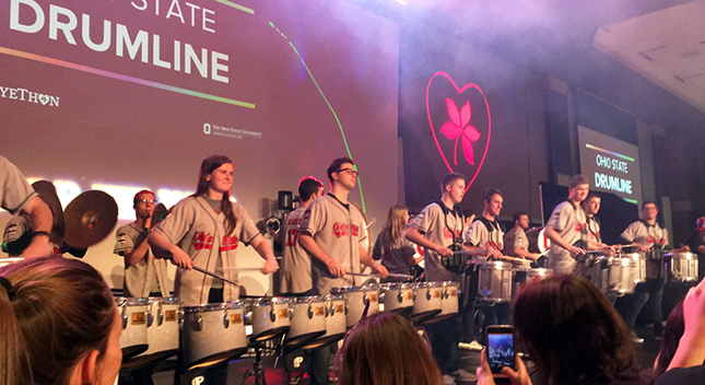 Members of the Ohio State Drumline participate in BuckeyeThon 2018.