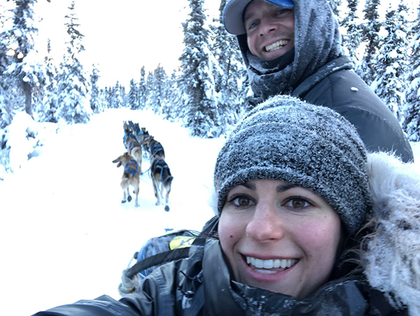 Matthew Failor and his wife, Liz Raines Failor, out with their sled dogs