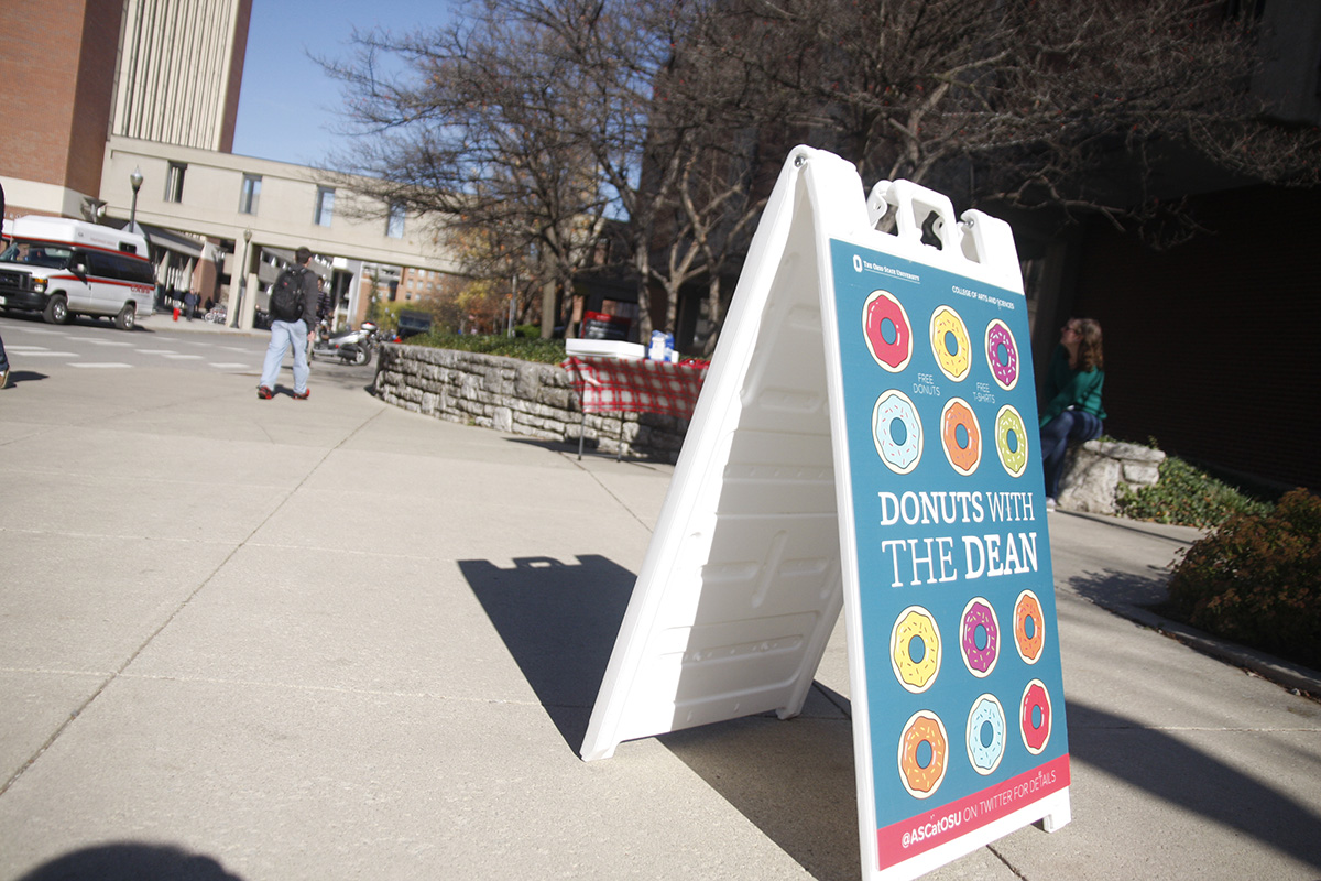 Donuts with the Dean sandwich board
