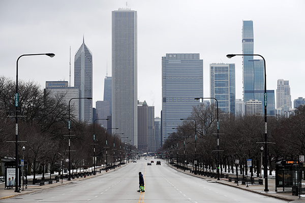 Desolate downtown Chicago during the early stages of the pandemic