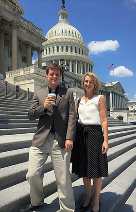 Scott Duxbury, PhD student in the Department of Sociology, and Dana Haynie, director of the Criminal Justice Research Center, in front of the U.S. Capitol.