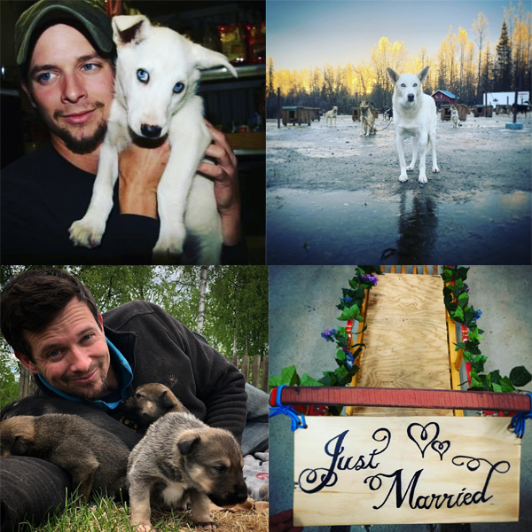 A college of images featuring Matthew Failor and dogs