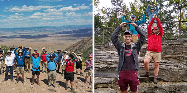 two photos of students in the field doing o-h-i-o