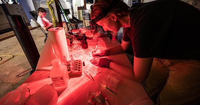 Researcher working under red light