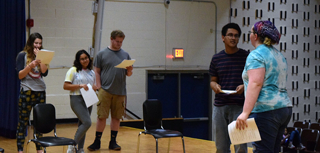 "Rehearsal of ""If a Tree Falls,"" a 30-minute patchwork play highlighting the opioid crisis in Ohio as seen through the eyes of local high school students."