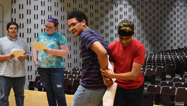 Rehearsal of If a Tree Falls,a 30-minute patchwork play high school students