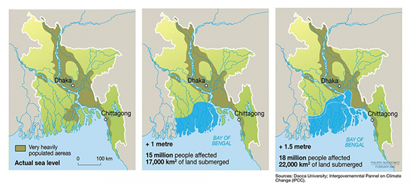 Visualization of varying degrees of sea level rise in Bangladesh