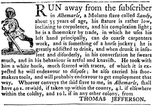 Description of runaway slave from Thomas Jefferson