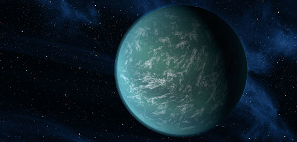 Artist's rendering of Kepler-22b, an exoplanet characterized as a super-Earth.