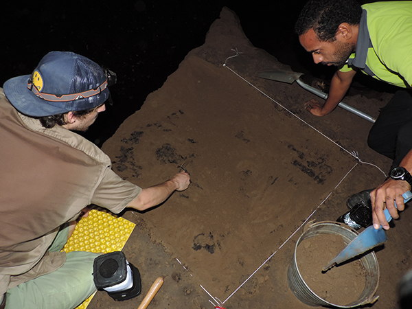 PhD student Kyle Riordan (left) works at Naihehe Cave in Fiji