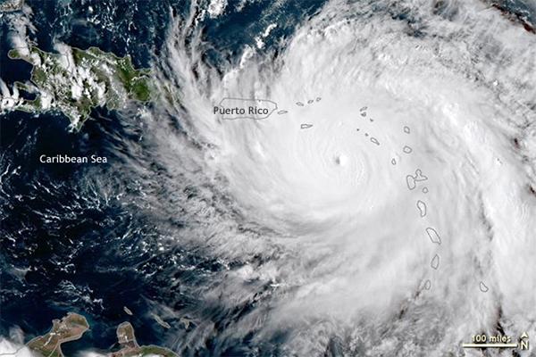 Hurricane Maria over the Caribbean