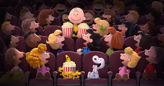 Peanuts in the movie theater, c/o Twentieth Century Fox and Peanuts Worldwide LLC