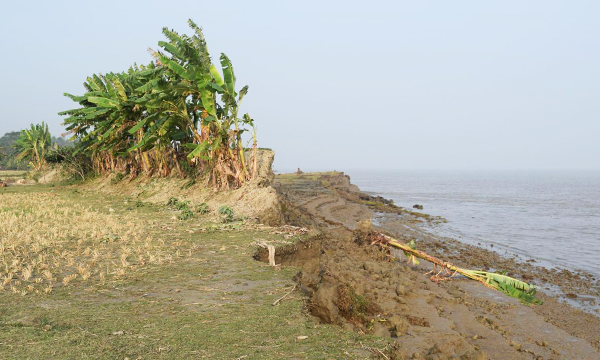 Remains of eroded embankment wall in Bangladesh