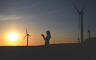 Woman in windfarm