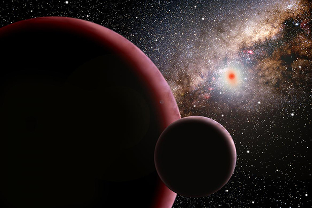 An artists conception of the discovery of a super-Earth orbiting a red dwarf star 9,000 light years away detected by a search for microlensing events. Image courtesy of David A. Aguilar (CfA)
