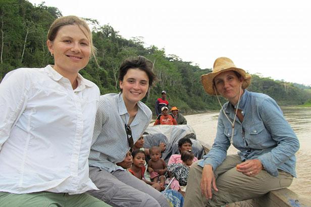 Zoe Pearson, Sara Santiago, and Kendra McSweeney on the Patuca River in Honduras