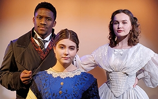 From left: Sterling Wesley as Ira Aldridge, Ashley Bice as Margaret Aldridge,  and Betsy Huggins as Ellen Tree in The Ohio State University Department of Theatre's production of Red Velvet. Photo by J. Briggs Cormier