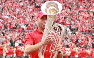 Rob Gast marches on the field during TBDBITL reunion halftime performance during the Ohio State vs. Tulane football game on Saturday, Sept. 22.
