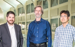 NASA's WFIRST Planetary Microlensing and Wide-Field Cosmology Teams' members (L to R) ,  Scott Gaudi, David Weinberg and Chris Hirata. Photo courtesy of Shellee Fischer Photography.