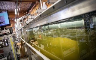Wave tank used by CAICE at Scripps Institution of Oceanography in San Diego. Image courtesy NSF Center for Aerosol Impacts on Chemistry of the Environment at UC San Diego.