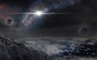 An artist's impression of the powerful, super-luminous supernova ASASSN-15lh, discovered by ASAS-SN in 2015, as it would appear from an exoplanet located about 10,000 light years away in the host galaxy of the supernova. (credit: Beijing Planetarium/Jin M