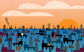 Illustration of a field of oil rigs.