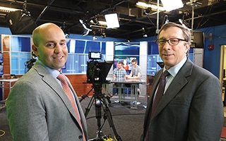 Dan Caterinicchia (left), assistant professor-clinical and student media director; and Dan McDonald, School of Communication director