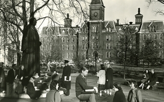 Campus life in 1940's, University Hall in background.