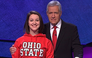 Maria Khrakovsky with Alex Trebek.