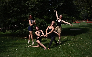 Ballet dancers on grass