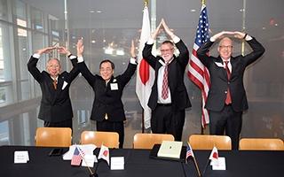 Dean Manderscheid with a Japanese delegation from Nagoya University