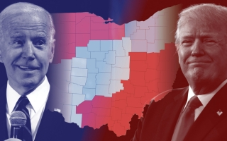 Trump biden in front of Ohio map